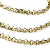 """SOLID 18K TWO TONE GOLD, 2.5 MM SIDE DIAMOND CUT ROLO CABLE CHAIN, BRIGHT 18"""" image 2"""