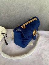 NEW Authentic GUCCI MARMONT MEDIUM ROYAL BLUE VELVET FLAP BAG  image 5