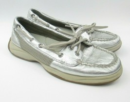 Sperry Top Sider Women's 6.5 M Silver Flats Slip On Loafer 9772773 Boat Shoes - $27.61