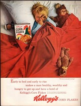Original 1963 Print Ad Kellogg's Corn Flakes Little Boy Early To Bed Ear... - $8.54