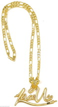 Lace Up Necklace New Large Pendant 24 Inch 5mm Figaro Style Chain Machin... - $13.95