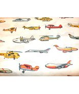 1 Yd Novelty Children's Quilt Fabric Airplanes on White Background - $6.99