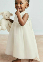 David's Bridal Off-White Satin Flower Girl Dress with Tulle Skirt - 24 m... - $35.64