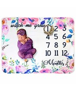 Fleece Baby Monthly Milestone Blanket Extra Large Photography Background... - $11.14