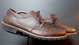 Men's Rockport Brown Oiled leather Brogue Oxford Sz. 44/10 EXCELLENT! - $36.75