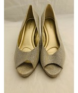 Kelly Katie Tibalt Silver Sparkle Metallic Gold Reflections Peep Toe Hee... - $23.36