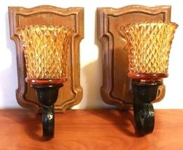 HOMCO Pair of Wall Sconces Brown Black Resin #4222 W/ Amber Diamond Cut ... - $24.75