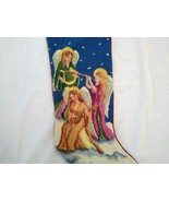 Lillian Vernon 3 Angels Music Needlepoint Wool Christmas Stocking - $34.65