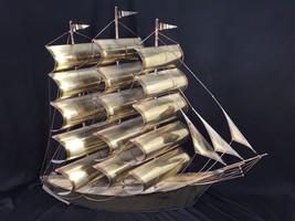 "Vintage Brass Clipper Sailing Ship Wall Decor 24"" Tall Mid Century - $124.99"