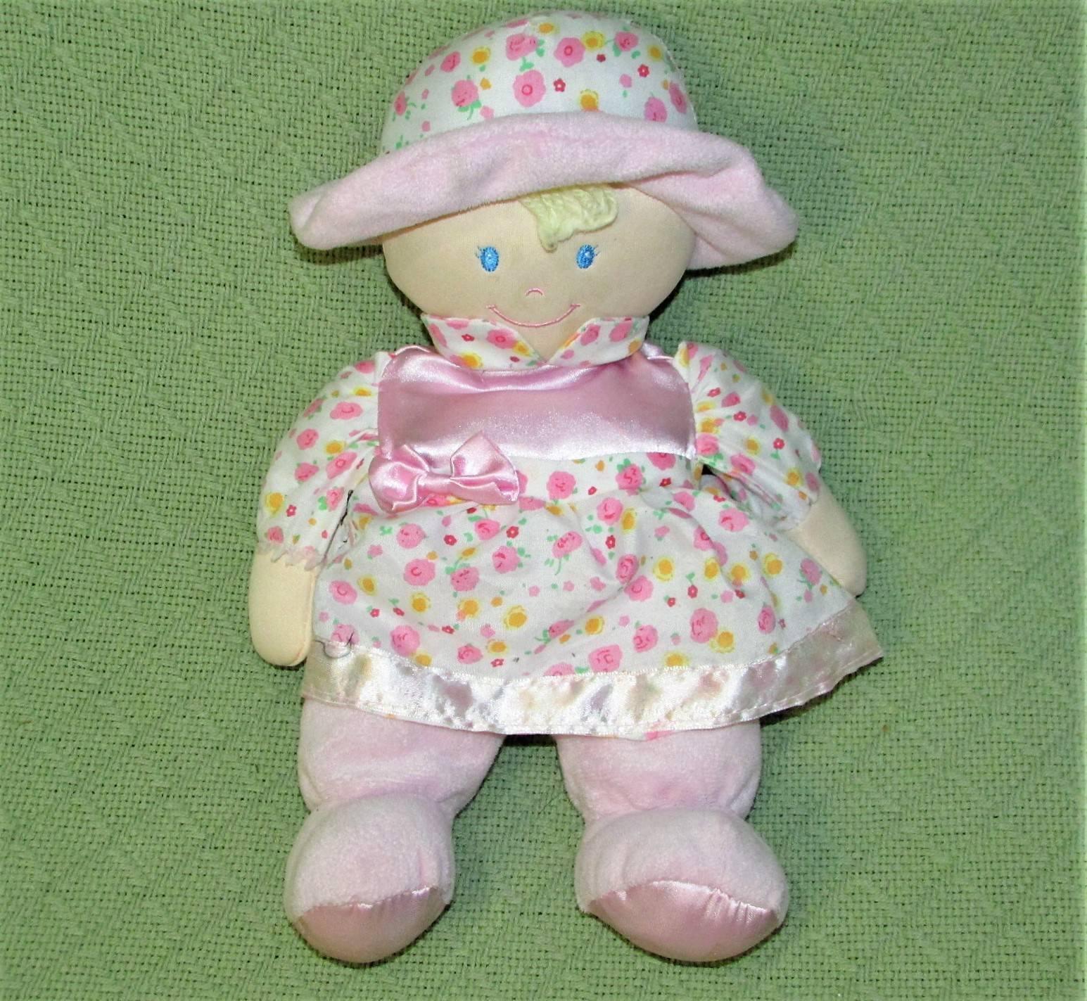 "Kids Preferred Plush BABY DOLL Pink 12"" Blue Eyes Satiny Flower Dress Hat 2012"