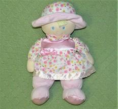 "Kids Preferred Plush BABY DOLL Pink 12"" Blue Eyes Satiny Flower Dress Hat 2012 - $17.72"