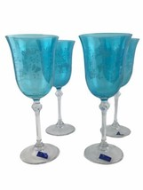 Le Sielle Crystal Design Blue Engraved Butterfly Bowl Wine Glasses Made ... - $56.06