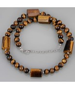 Designer Necklace - Tiger's Eye Smooth Round & Drum Beads with 925 Silve... - $36.99