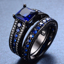 Black Gold Fn. 925 Silver Princess Cut Blue Sapphire Bridal Ring Set Free Ship - $108.98