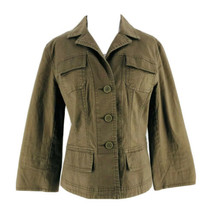 Ann Taylor LOFT Women's Olive Green Button-Down Collared Jacket Size 8 - $14.85