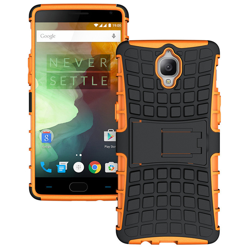 D dual layer shockproof armor kickstand phone cover case for oneplus 3 orange p20160704143448226
