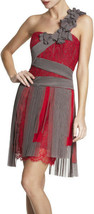 $598 BCBG Maxazria Runway Pink Crimson Pleated Contrast Lace One Shoulder Dress - $202.50