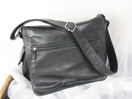Fossil Black Leather Nylon Crossbody Organizer Messenger Mens Womens Han... - $42.26