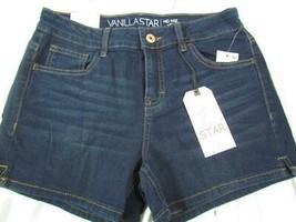 "NWT Vanilla Star Mid Rise Midi Jr Sz 9 Dark Wash Five Pocket 4"" Short Or... - $14.24"