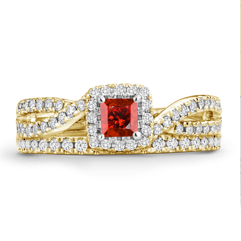 Princess Cut Red Garnet 14k Yellow Gold FN 925 Silver Bridal Engagement Ring Set