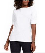 Karen Scott Cotton Elbow-Sleeve T-Shirt Plus Size 0X Bright White Brand New - $25.70