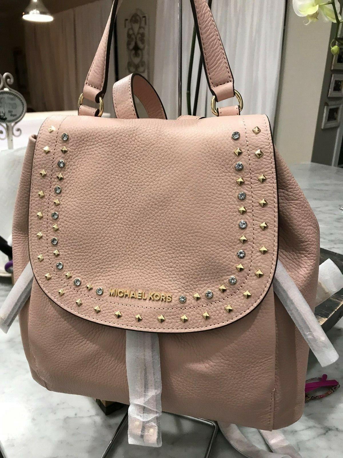 c941399117cf09 Michael Kors Jet Set Large Riley Jewels & Studs Backpack Pastel Pink $428  New