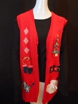 Basic Editions RED UGLY CHRISTMAS HOLIDAY SANTA TREE SWEATER VEST WOMEN ... - $24.95