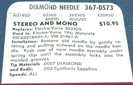 367-DS73 STEREO PHONOGRAPH RECORD NEEDLE for Motorola 59C63218A01-1   EV 194 image 2