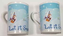 Walt Disney Coffee Tea Mugs LET IT SNOW pair (2) Minnie Mickey Mouse Pluto Sled - $22.80