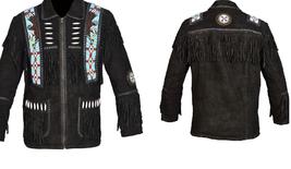 Men New Native American Buckskin Black Goat Suede Leather Bead Shirt & Pant WS69 image 6