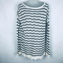 Ann Taylor LOFT Women Size Large Knit Gray White Striped Vented Sweater - $17.79
