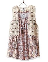 $46 Beautees 2-Pc. Crochet Vest & Geo-Print Tank, Big Girls, Brown, Size L - $19.79
