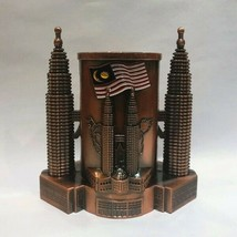 KLCC Twin Tower Zinc Pen Holder Red Malaysia Souvenir - $16.61