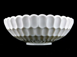 Fenton Old Virginia Milk Glass Console Serving Bowl, Thumbprint, Scallop... - $39.15
