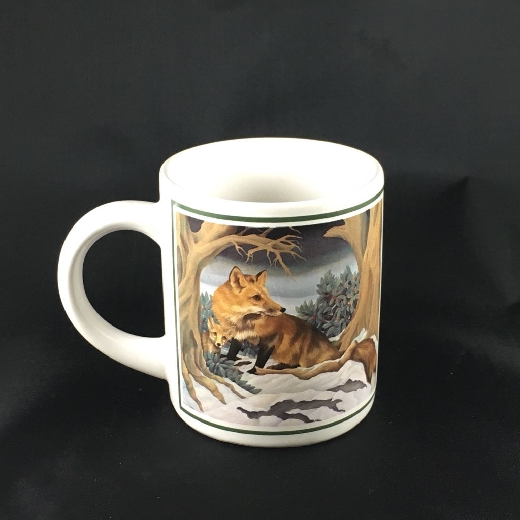 Primary image for Vintage Illustrated Red Fox Foxes in the Woods Coffee Mug by Applause