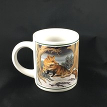 Vintage Illustrated Red Fox Foxes in the Woods Coffee Mug by Applause - $14.25