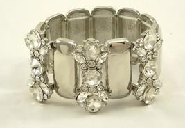 Luxurious New Crystal Silver Tone High Polished Stretch Bracelet #B53195 - ₨713.97 INR