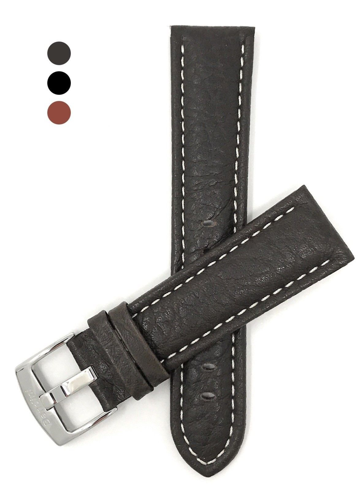 Extra Long (XL) 22mm Brown Classic Genuine Leather Buffalo Pattern Watch Strap B - $66.20