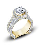 Art Deco Womens Engagement Diamond Ring 14k Gold Finish 925 Sterling Rea... - £62.24 GBP