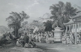 CHINA Chinese Marriage Procession - 1846 Antique Engraving Print T. Allom - $33.75