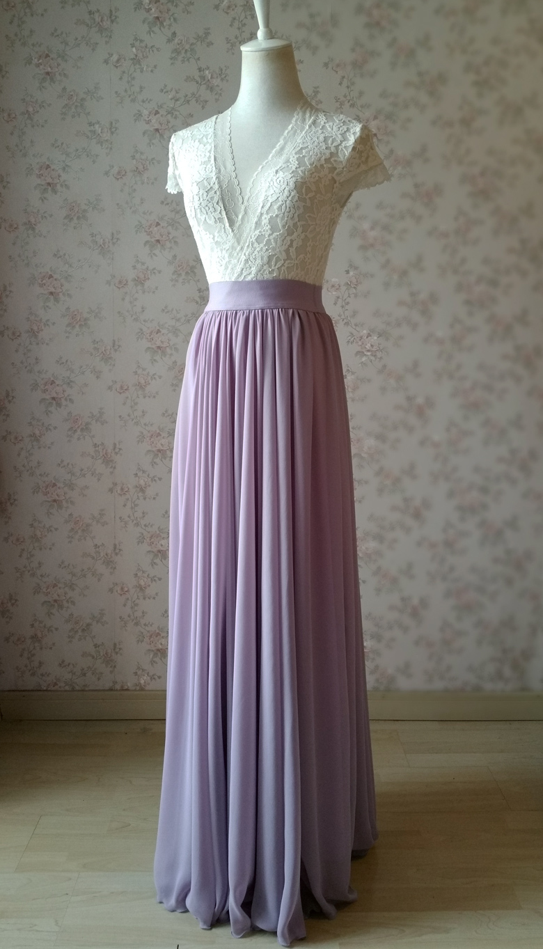 Women LAVENDER PURPLE High Waisted Chiffon Skirt Summer Wedding Chiffon Skirts