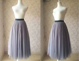 "Gray Maxi Tulle skirt Floor Length Gray Skirt - Black Waist Band- 35.4"" long"