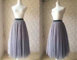 """Gray Maxi Tulle skirt Floor Length Gray Skirt - Black Waist Band- 35.4"""" long image 1"""