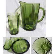 "8"" Green Glass Panel Optical Pitcher Olive Avocado Retro HEAVY + Tumbler - $22.00"
