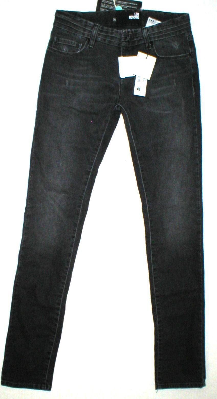 New NWT Womens 26 Designer Love Moschino Black Jeans Distressed Skinny Logo Tall