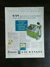 Vintage 1931 Estate Gas Ranges Full Page Color Ad - $6.64