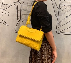 Tory Burch Fleming Convertible Leather Shoulder Bag Large Yellow Orchid - $329.00