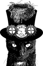 mad hatter black cat fairytale steampunk printable png clipart digital d... - $4.99
