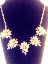 Vintage Silver Tone and Pink Rhinestone Floral Themed Necklace - $22.00