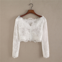 White Off Shoulder Long Sleeve Floral Lace Top Wedding Bridesmaid Lace Crop Tops image 1